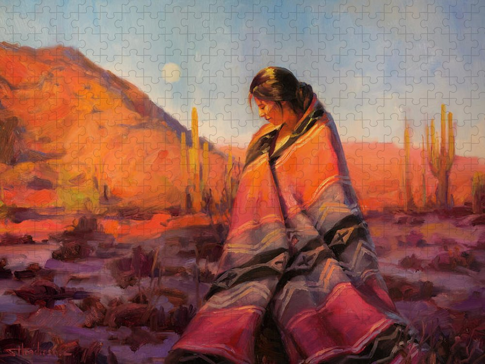 Southwest Puzzle featuring the painting Moon Rising by Steve Henderson