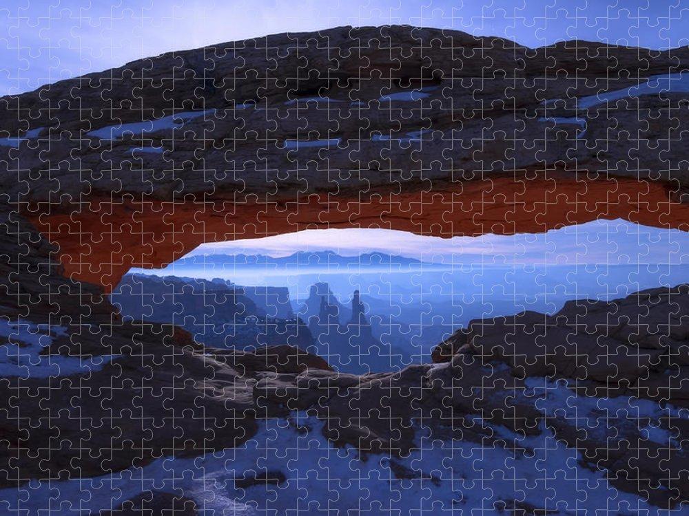 Moonlit Mesa Puzzle featuring the photograph Moonlit Mesa by Chad Dutson