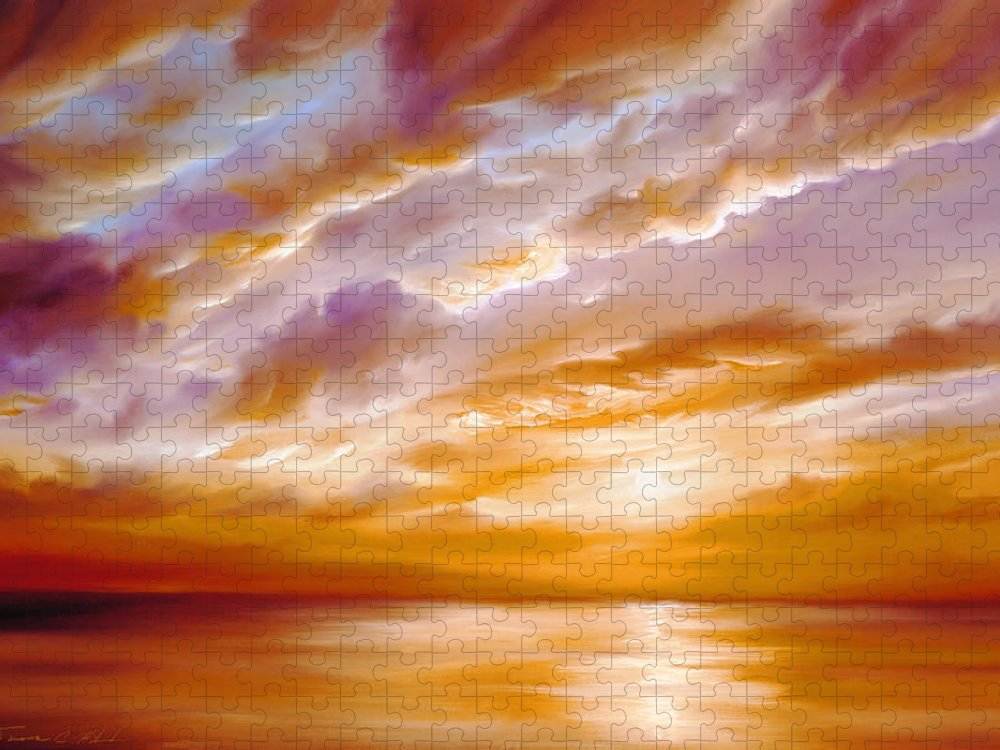 Sunrise; Sunset; Power; Glory; Cloudscape; Skyscape; Purple; Red; Blue; Stunning; Landscape; James C. Hill; James Christopher Hill; Jameshillgallery.com; Ocean; Lakes; Creation; Genesis; Lowcountry Puzzle featuring the painting Morning Grace by James Christopher Hill