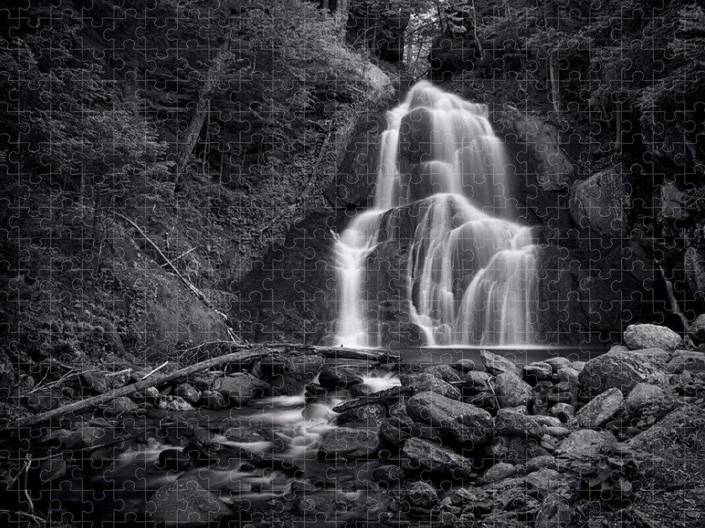 Moss Glen Falls Puzzle featuring the photograph Moss Glen Falls - Monochrome by Stephen Stookey