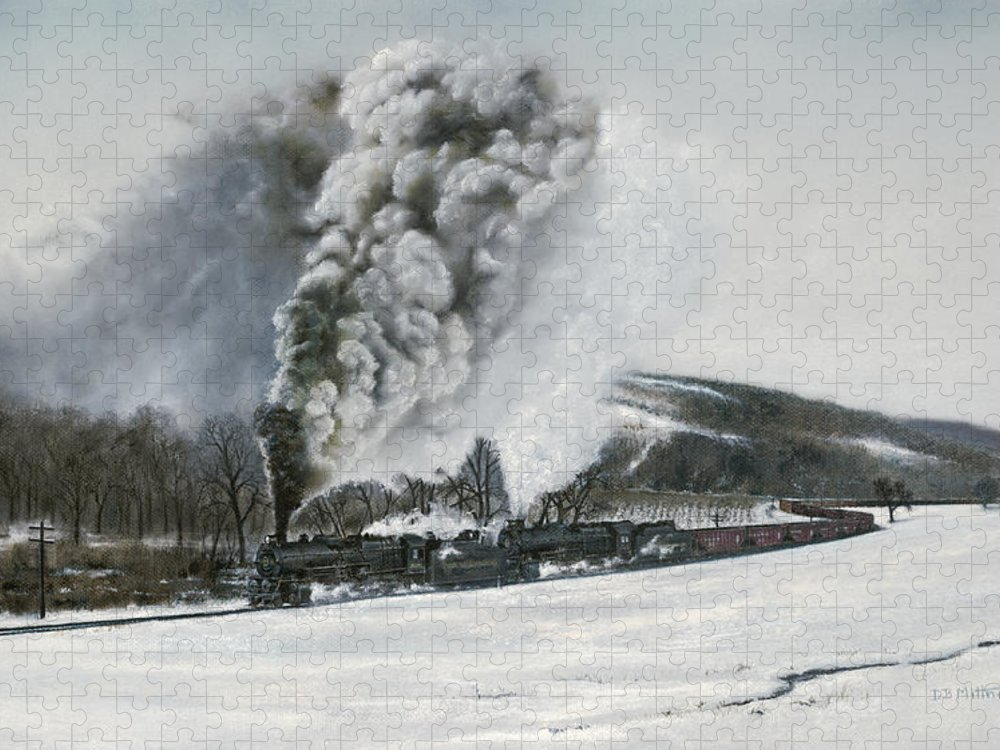 Trains Puzzle featuring the painting Mount Carmel Eruption by David Mittner