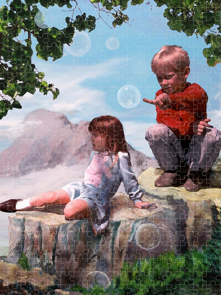 Landscape Puzzle featuring the painting Mount Innocence by Steve Karol