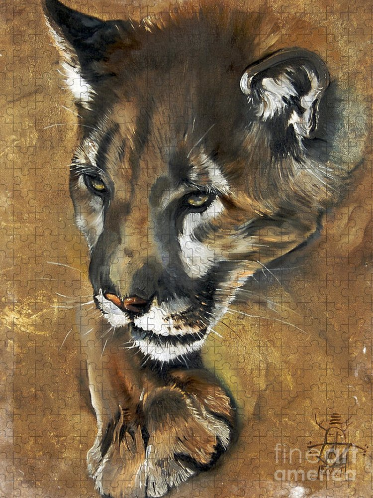 Southwest Art Puzzle featuring the painting Mountain Lion - Guardian of the North by J W Baker