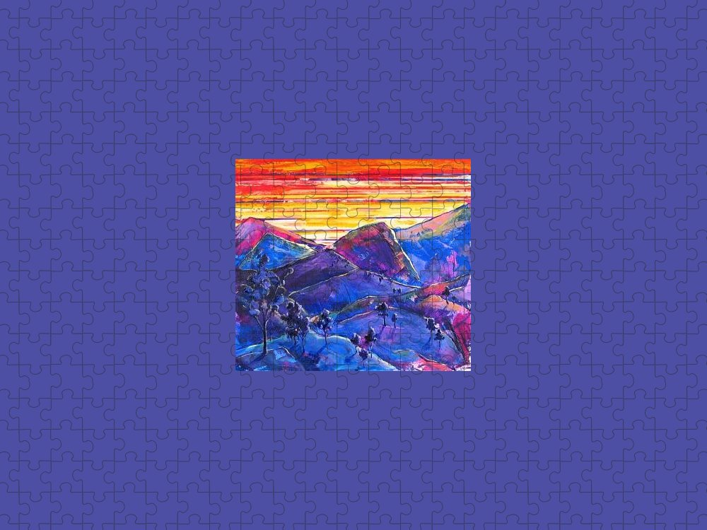 Mountains Puzzle featuring the painting Mountainscape Blue by Rollin Kocsis