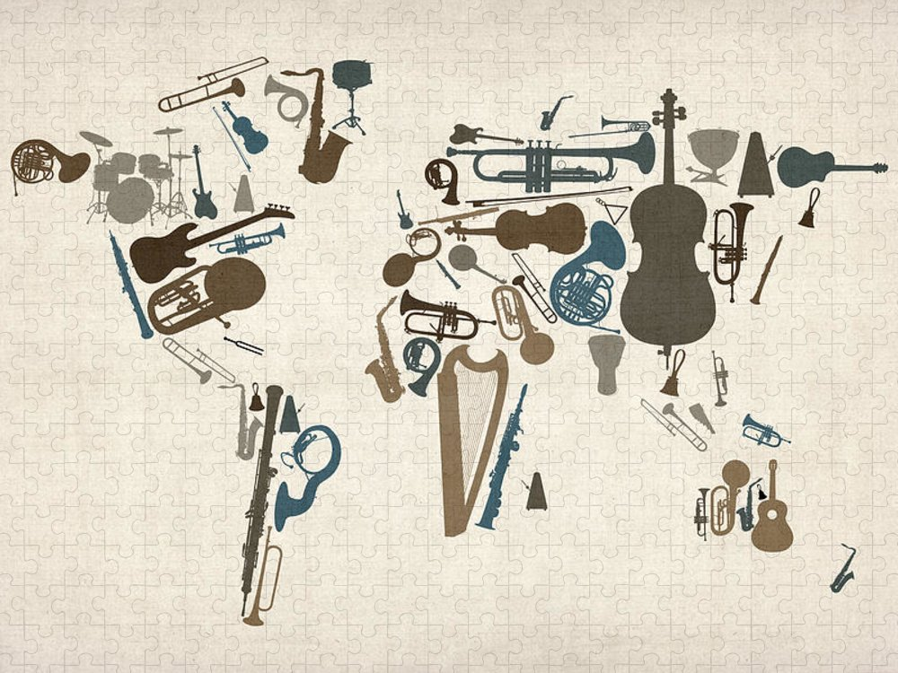 World Map Puzzle featuring the digital art Musical Instruments Map of the World Map by Michael Tompsett