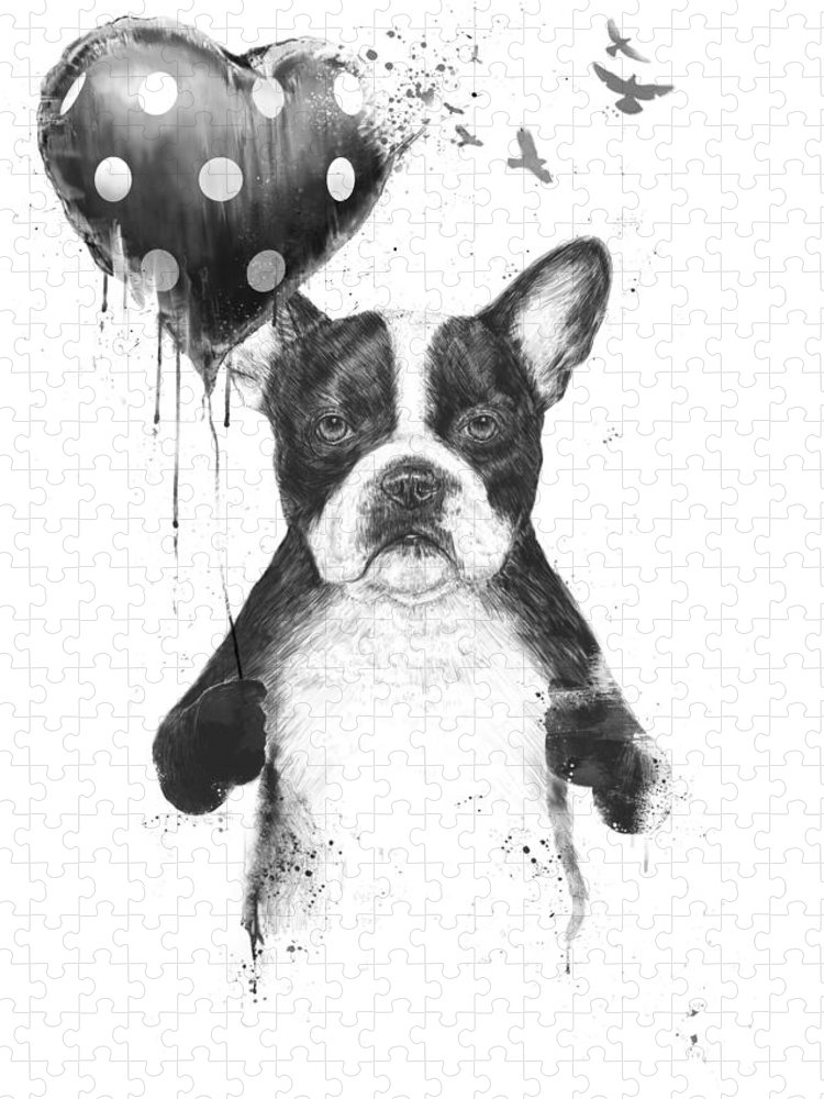 Bulldog Puzzle featuring the mixed media My heart goes boom by Balazs Solti