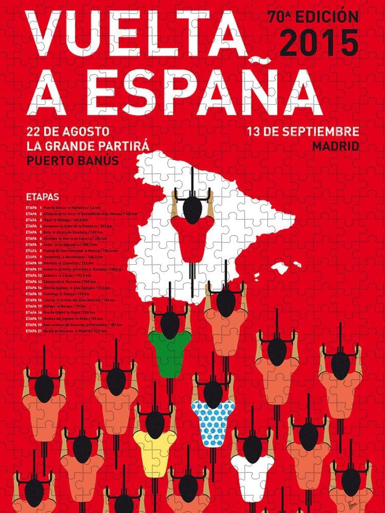 2015 Puzzle featuring the digital art My Vuelta A Espana Minimal Poster Etapas 2015 by Chungkong Art