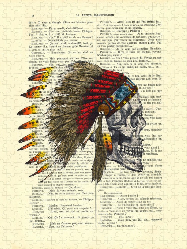 Native American Puzzle featuring the digital art Native American Skull by Madame Memento