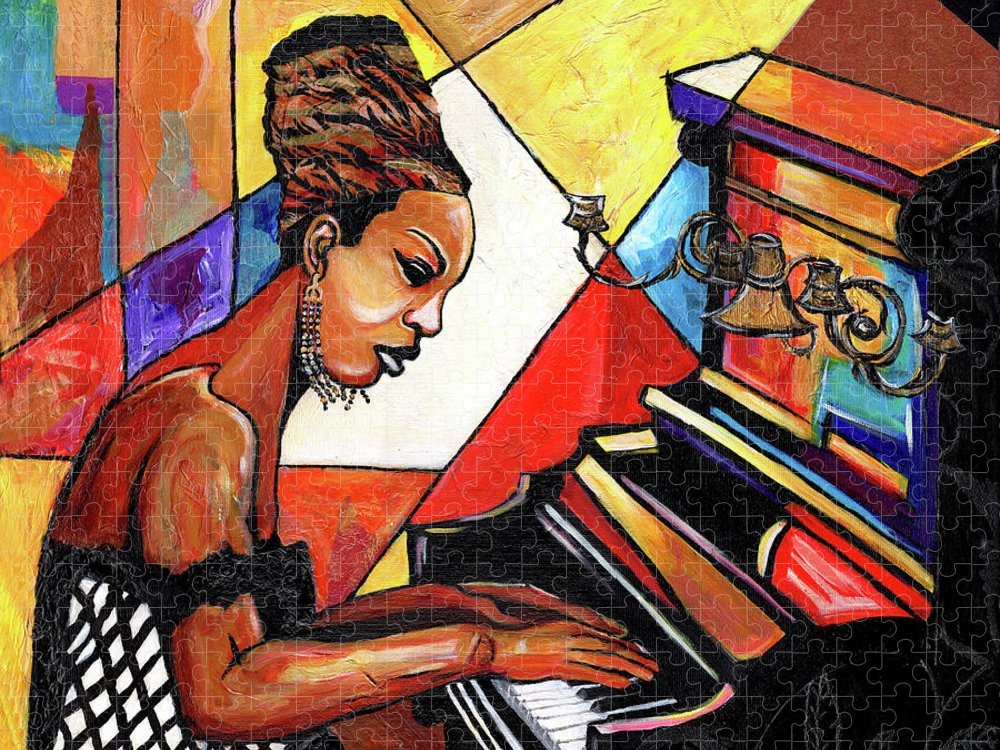 Everett Spruill Puzzle featuring the mixed media Nina Simone by Everett Spruill