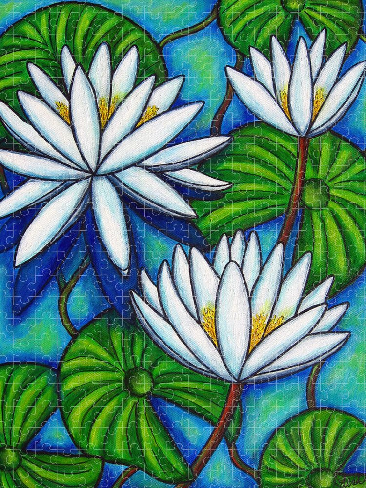 Lily Puzzle featuring the painting Nymphaea Blue by Lisa Lorenz