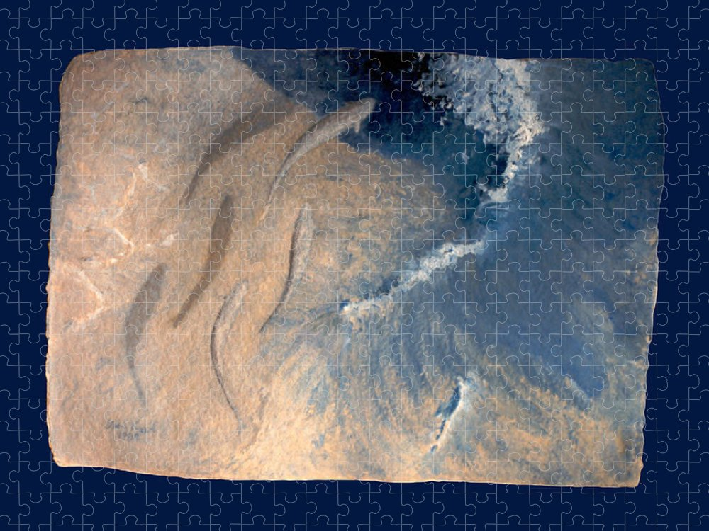 Seascape Puzzle featuring the painting Ocean by Steve Karol