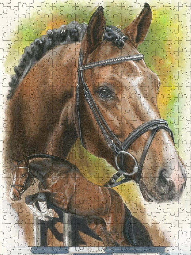 Hunter Jumper Puzzle featuring the mixed media Oldenberg by Barbara Keith