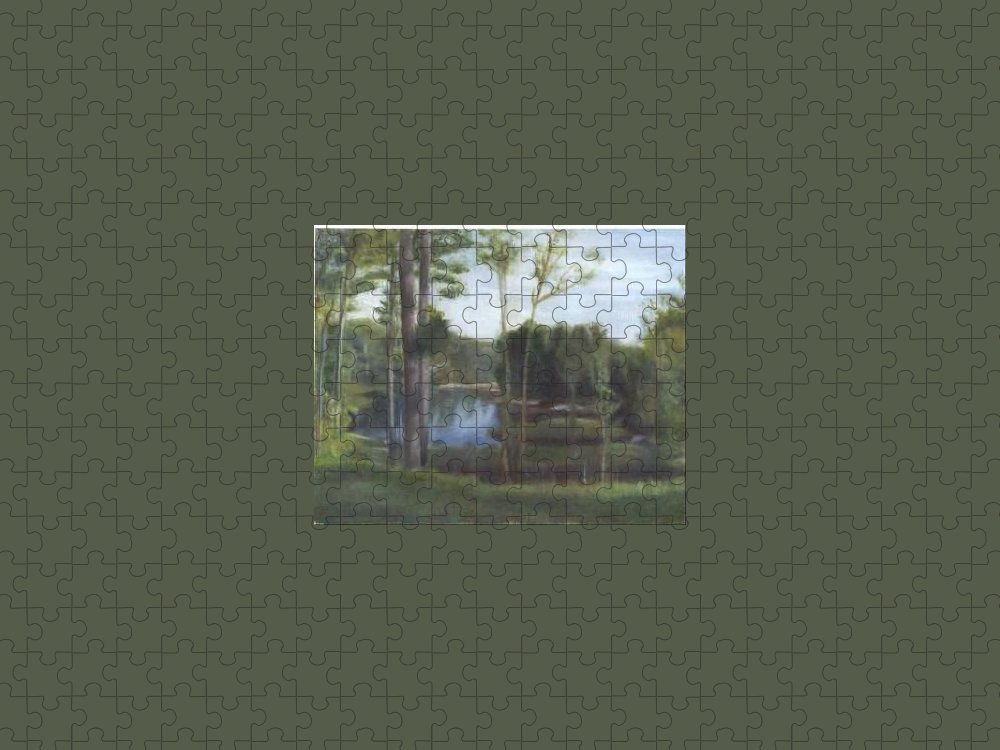 Landscape Puzzle featuring the painting Once by Sheila Mashaw