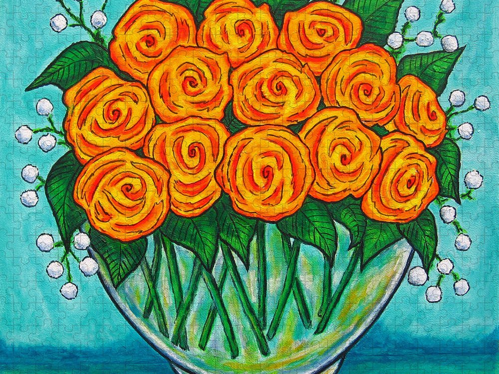 Orange Puzzle featuring the painting Orange Passion by Lisa Lorenz