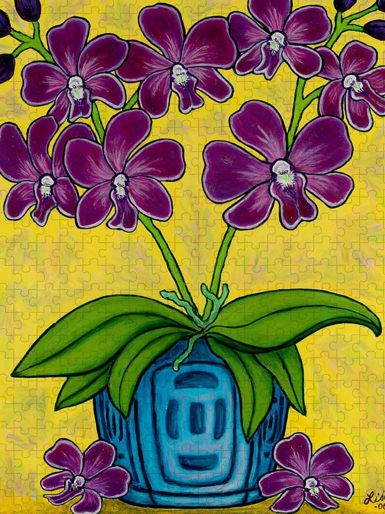 Orchids Puzzle featuring the painting Orchid Delight by Lisa Lorenz