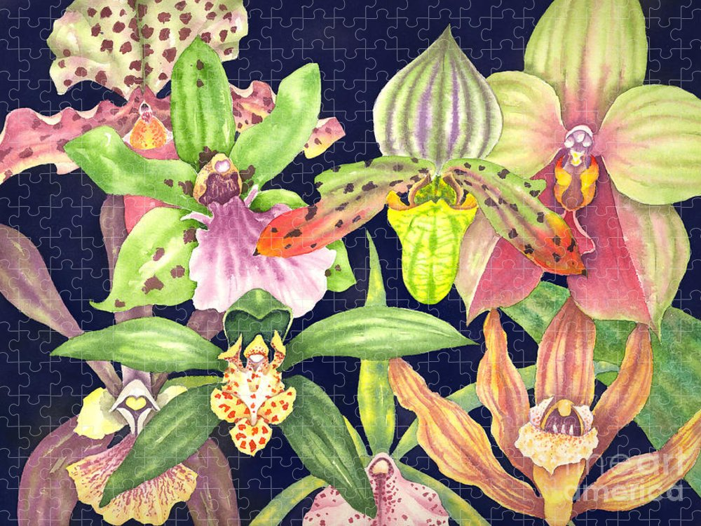 Orchids Puzzle featuring the painting Orchids by Lucy Arnold