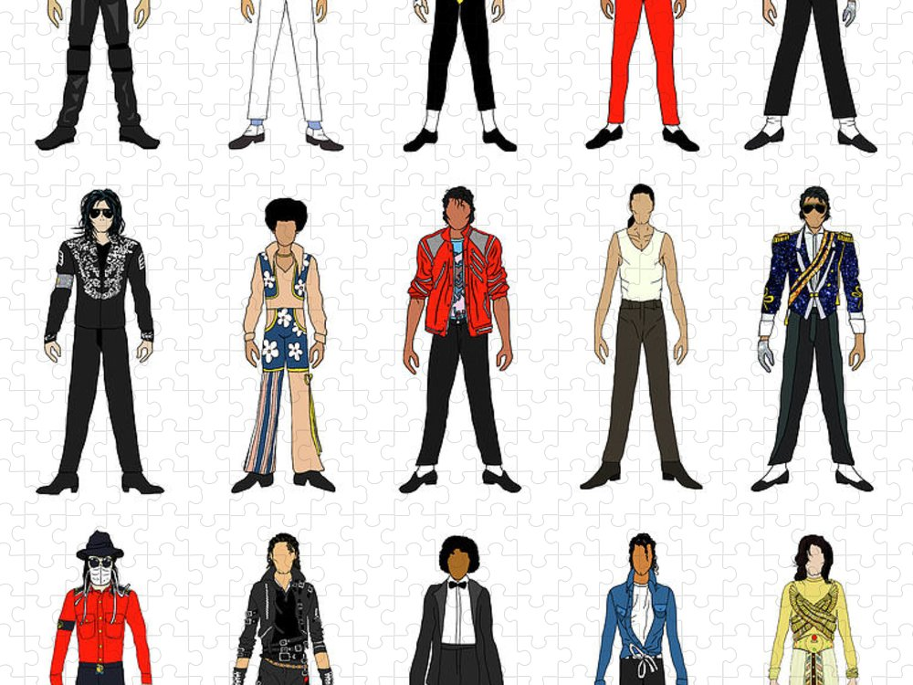 Michael Jackson Puzzle featuring the digital art Outfits of Michael Jackson by Notsniw Art