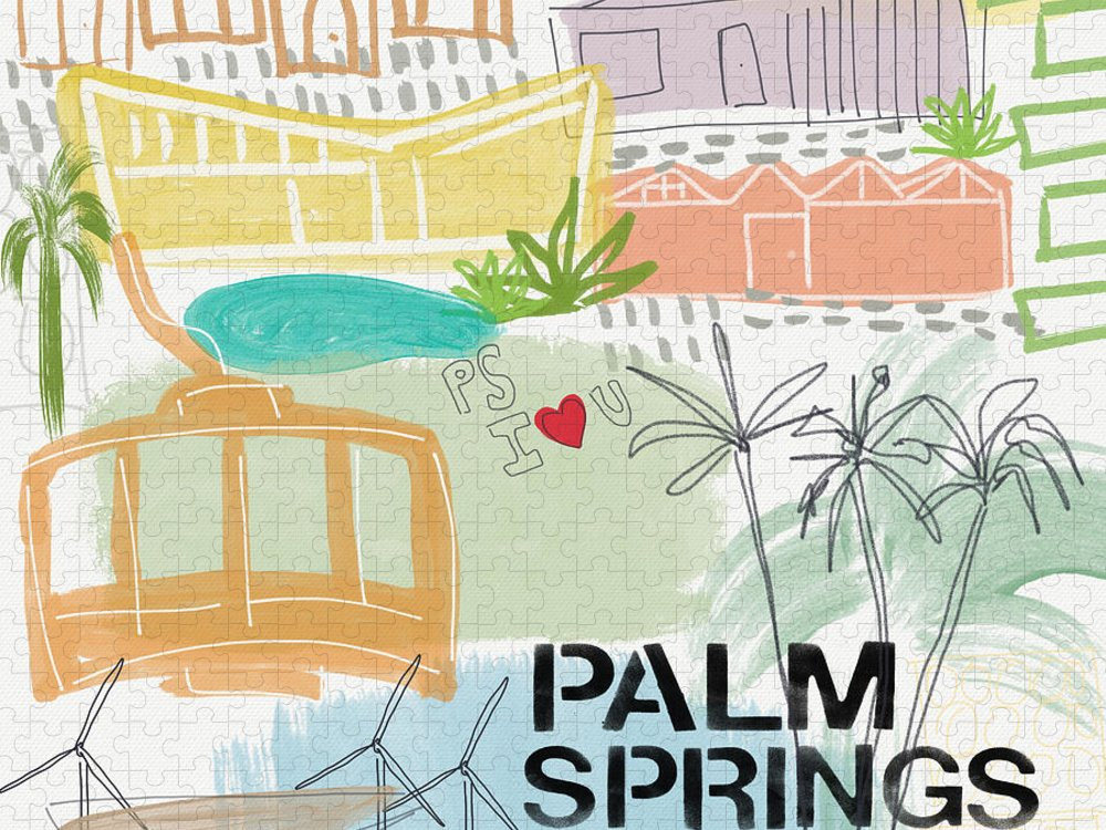 Palm Springs California Puzzle featuring the painting Palm Springs Cityscape- Art by Linda Woods by Linda Woods