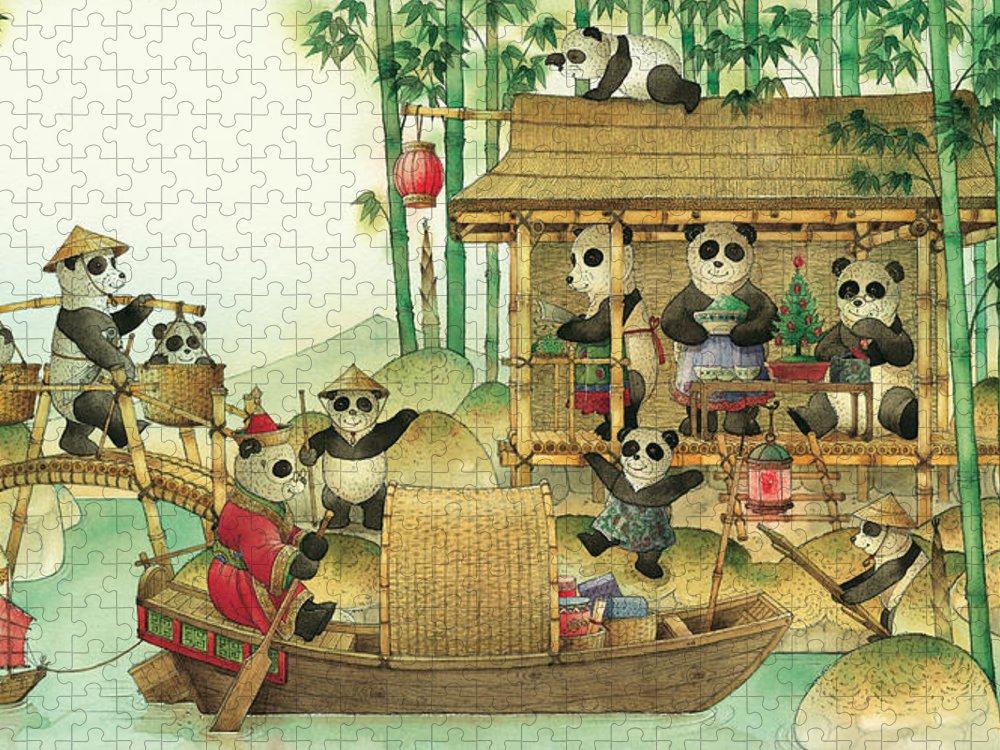 Christmas Greeting Cards Panda China Puzzle featuring the painting Pandabears Christmas 03 by Kestutis Kasparavicius