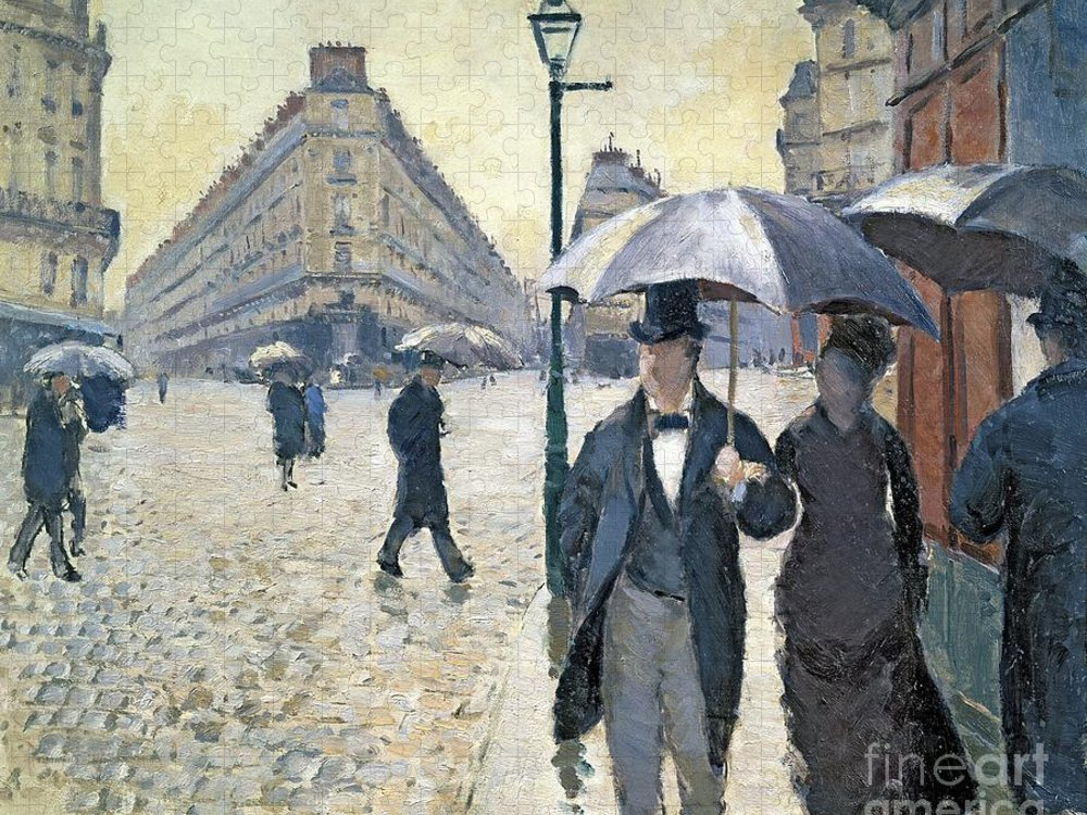 Sketch Puzzle featuring the painting Paris a Rainy Day by Gustave Caillebotte