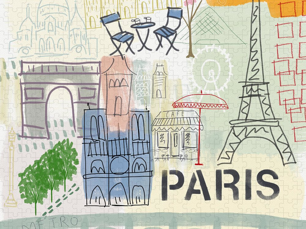Paris Puzzle featuring the painting Paris Cityscape- Art by Linda Woods by Linda Woods