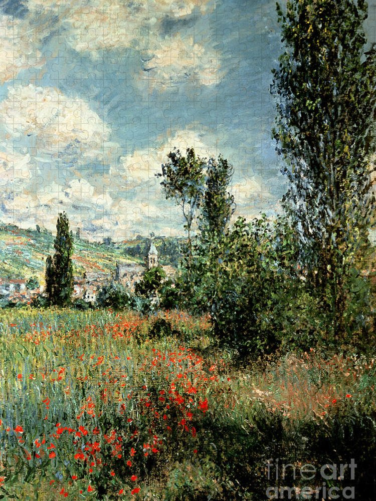 Path Puzzle featuring the painting Path through the Poppies by Claude Monet