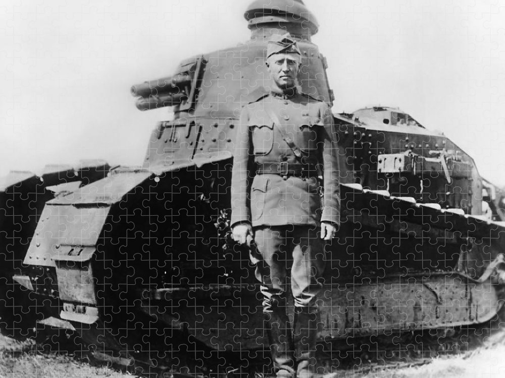 George Patton Puzzle featuring the photograph Patton Beside a Renault Tank - WWI by War Is Hell Store