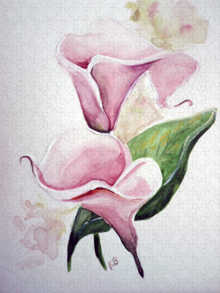 Botanical Painting Pink Paintings Calla Paintings Lily Paintings Flower Paintings Floral Paintings Flora Pink Flower Lily Puzzle featuring the painting Pink Callas by Karin Dawn Kelshall- Best
