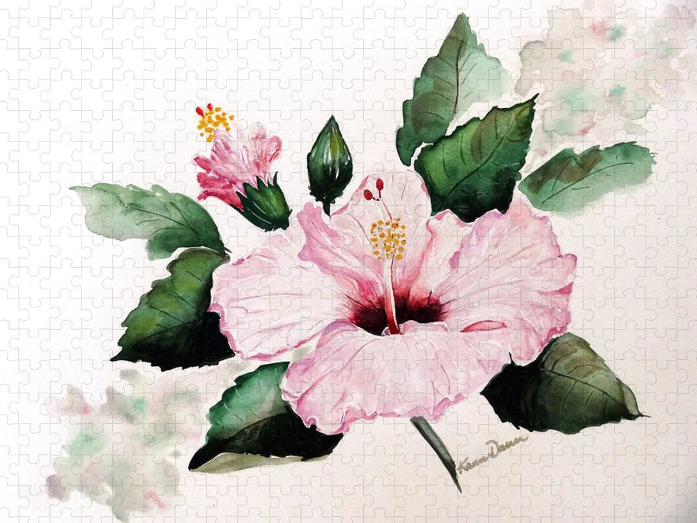 Hibiscus Painting  Floral Painting Flower Pink Hibiscus Tropical Bloom Caribbean Painting Puzzle featuring the painting Pink Hibiscus by Karin Dawn Kelshall- Best