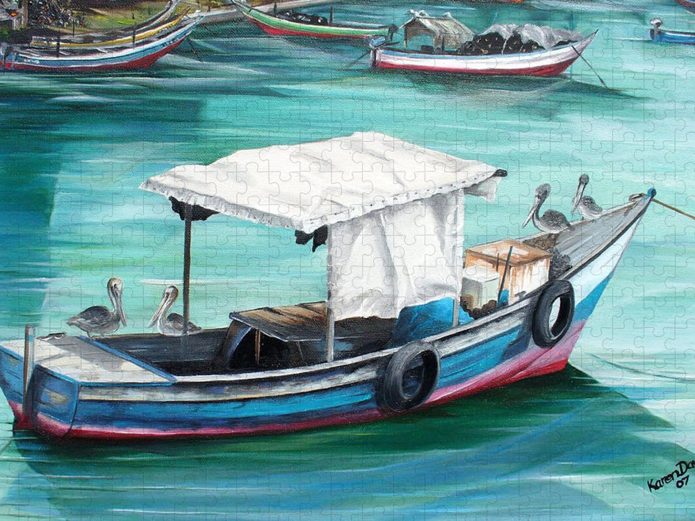 Fishing Boat Painting Seascape Ocean Painting Pelican Painting Boat Painting Caribbean Painting Pirogue Oil Fishing Boat Trinidad And Tobago Puzzle featuring the painting Pirogue Fishing Boat by Karin Dawn Kelshall- Best