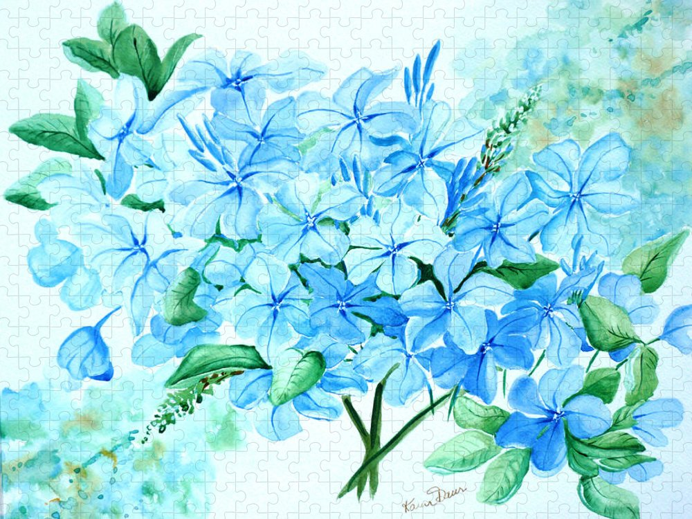 Floral Blue Painting Plumbago Painting Flower Painting Botanical Painting Bloom Blue Painting Puzzle featuring the painting Plumbago by Karin Dawn Kelshall- Best