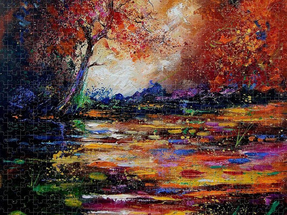 River Puzzle featuring the painting Pond 671254 by Pol Ledent