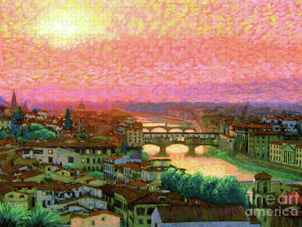 Italy Puzzle featuring the painting Ponte Vecchio Sunset Florence by Jane Small