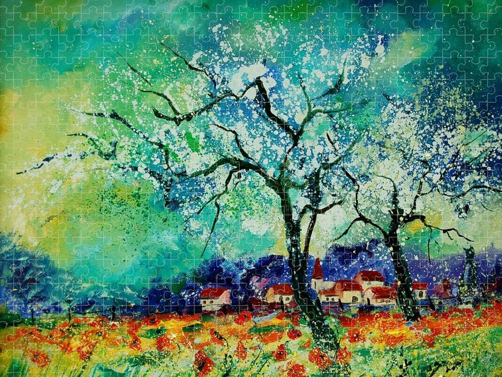 Landscape Puzzle featuring the painting Poppies and appletrees in blossom by Pol Ledent