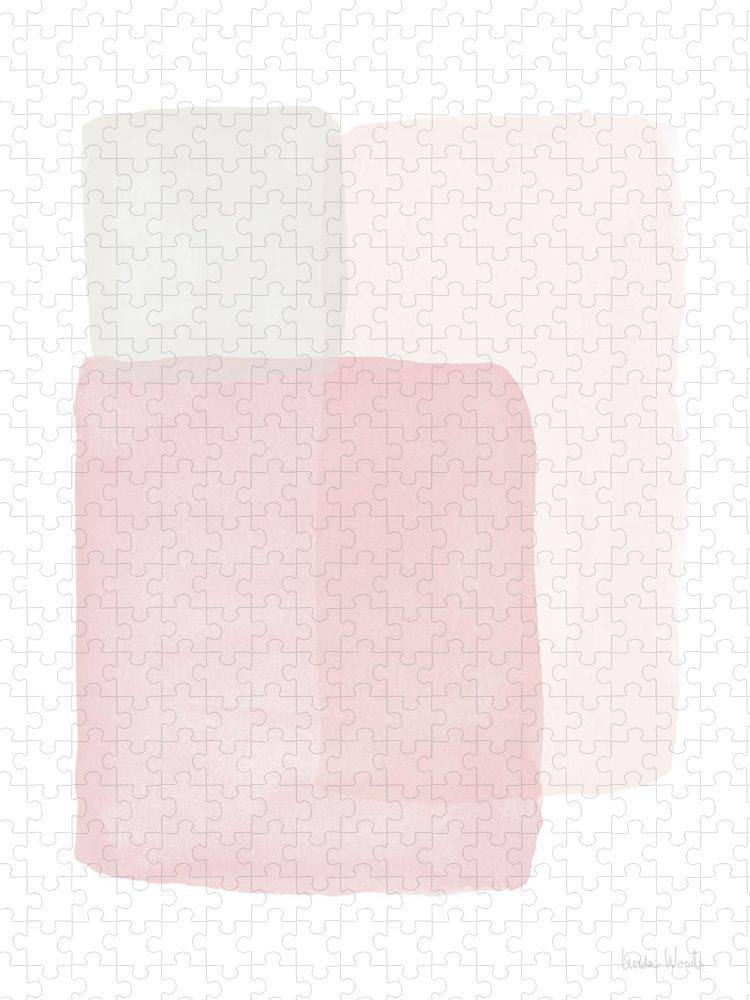 Watercolor Puzzle featuring the painting Pretty Pink Boxes 1- Art by Linda Woods by Linda Woods