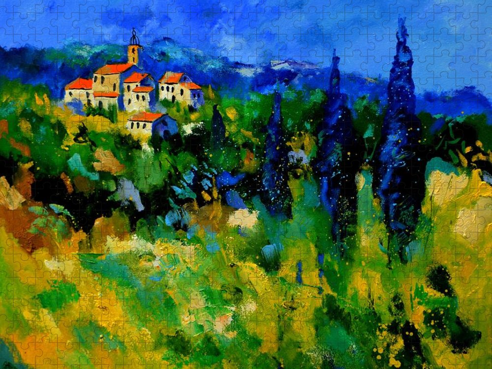 Landscape Puzzle featuring the painting Provence 768110 by Pol Ledent