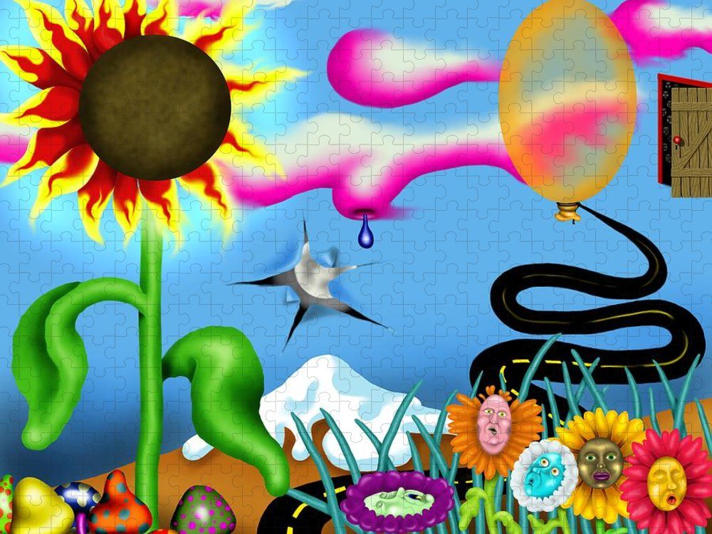 Surrealism Puzzle featuring the digital art Psychedelic Dreamscape I by Robert Morin