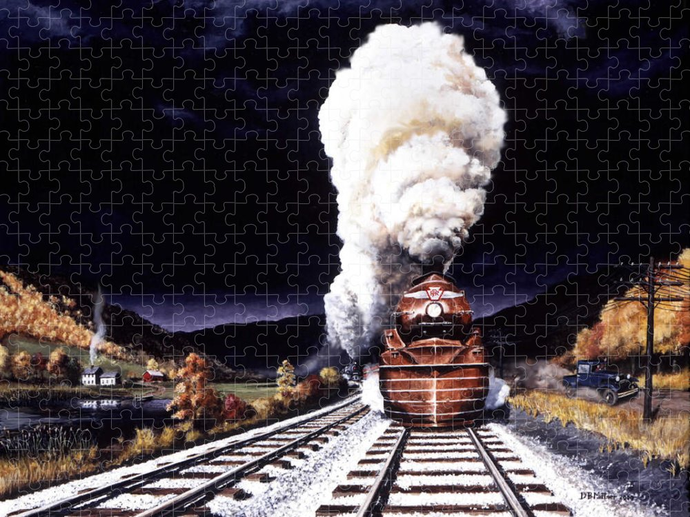 Train Puzzle featuring the painting Racing the Storm by David Mittner