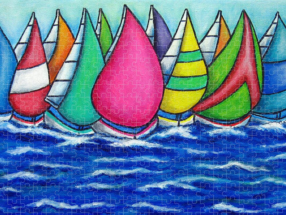 Boats Puzzle featuring the painting Rainbow Regatta by Lisa Lorenz