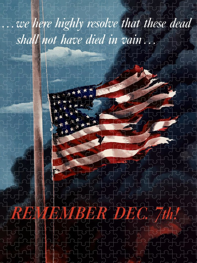 American Flag Puzzle featuring the painting Remember December Seventh by War Is Hell Store