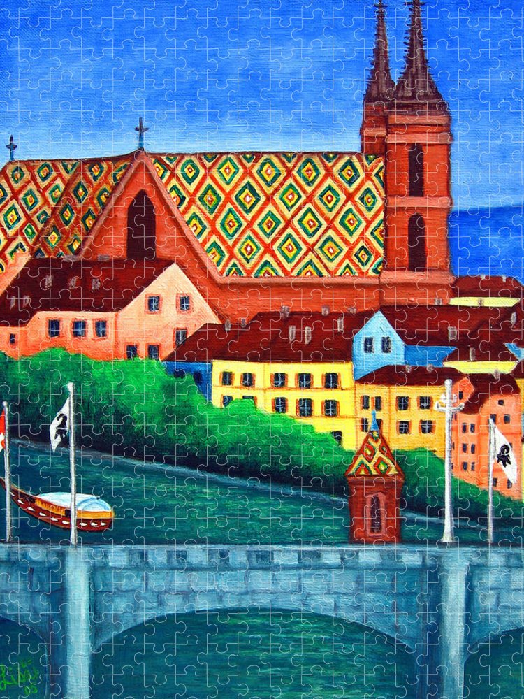 Basel Puzzle featuring the painting Remembering Basel by Lisa Lorenz