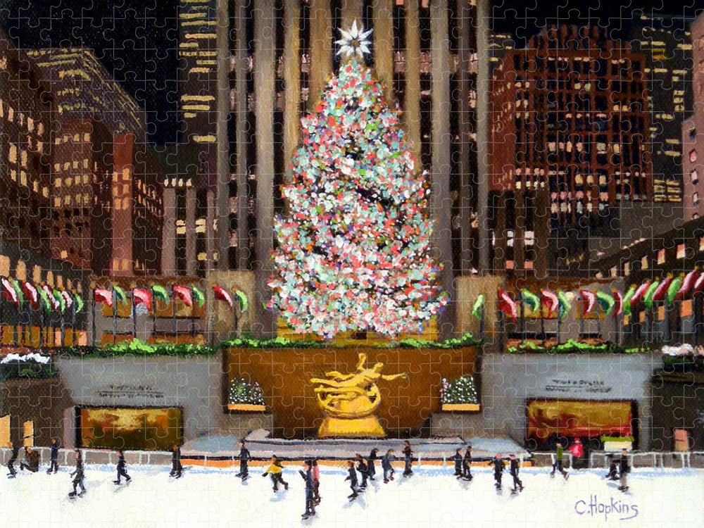 Christine Hopkins Puzzle featuring the painting Rockefeller Center - New York City by Christine Hopkins