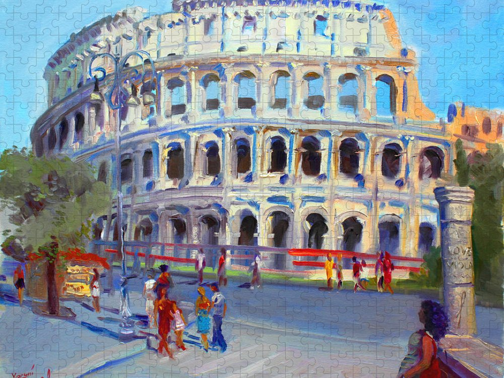 Anfiteatro Flavio Puzzle featuring the painting Rome Colosseum by Ylli Haruni