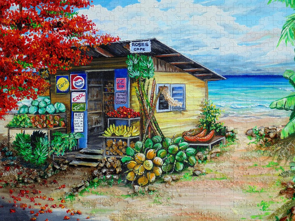 Beach Cafe Puzzle featuring the painting Rosies Beach Cafe by Karin Dawn Kelshall- Best