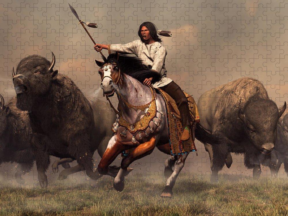 Western Puzzle featuring the digital art Running With Buffalo by Daniel Eskridge