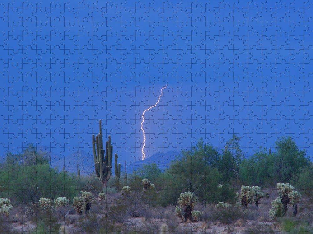 Lightning Puzzle featuring the photograph Saguaro Desert Lightning Strike Fine Art by James BO Insogna