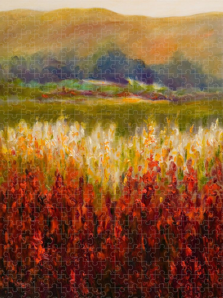 Landscape Puzzle featuring the painting Santa Rosa Valley by Shannon Grissom
