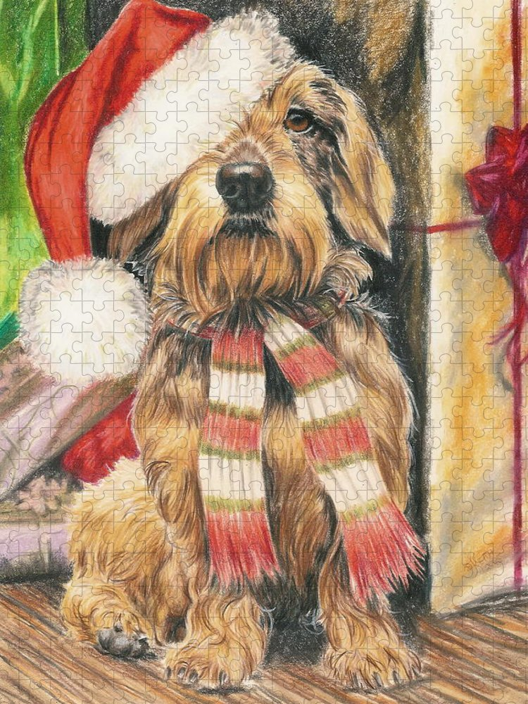 Hound Group Puzzle featuring the drawing Santas Little Yelper by Barbara Keith