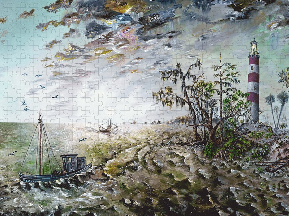 Lighthouse Puzzle featuring the painting Sapelo Island by Richard Barham