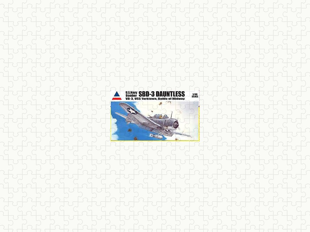 Military Puzzle featuring the painting SBD-3 Dauntless Model Boxtop Art by Marc Stewart